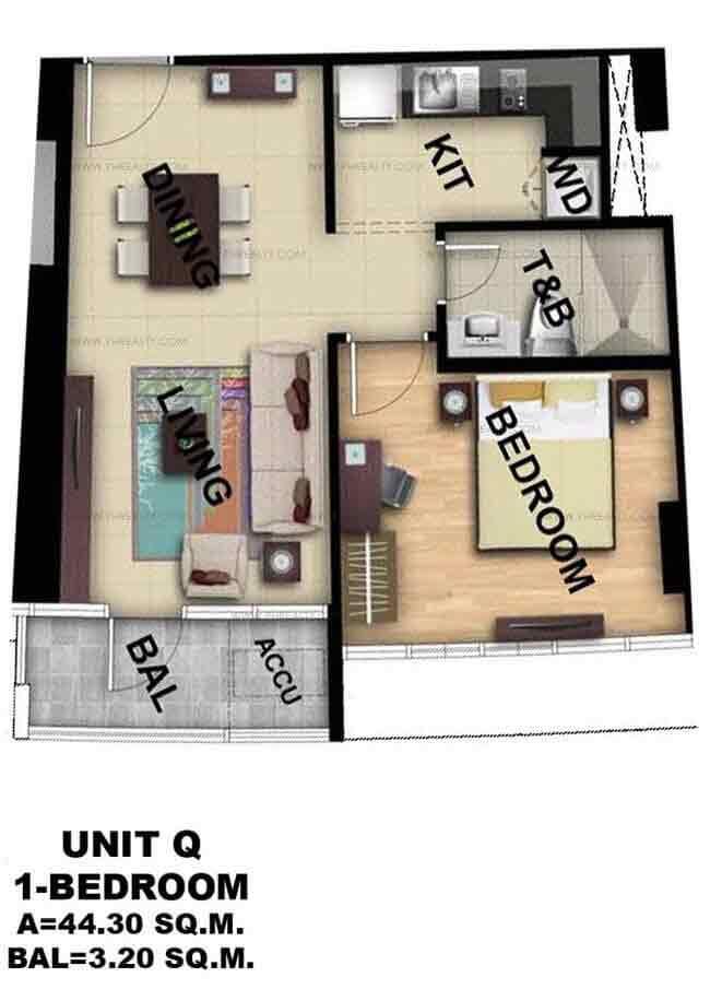 Unit Q 1 - Bedroom