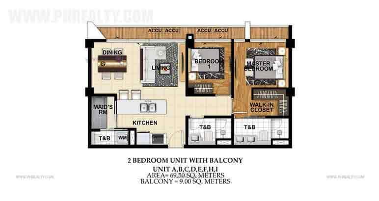 Unit A,B,C,D,E,F,H,I 2 Bedroom Unit