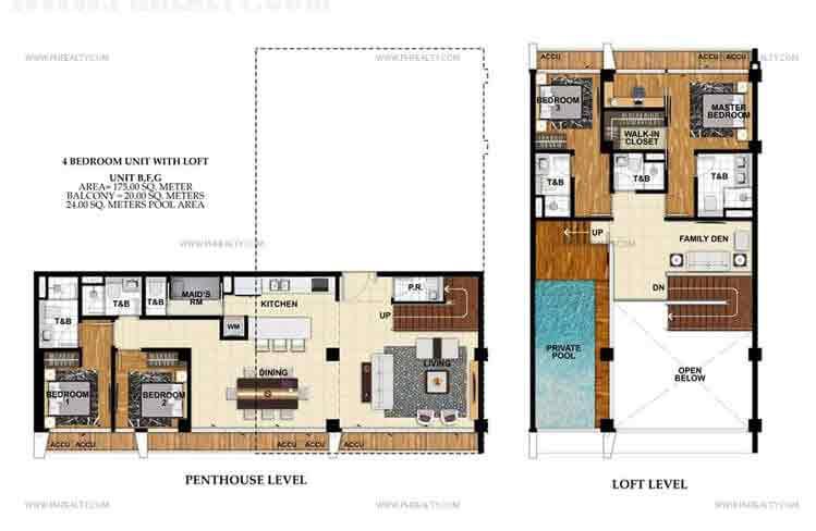 Unit B,F,G 4 Bedroom