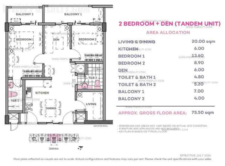 Zebrina 2 Bedroom + Den (Tandem Unit)