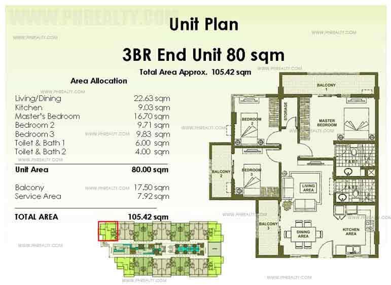 End Unit Plan 3 Bedroom
