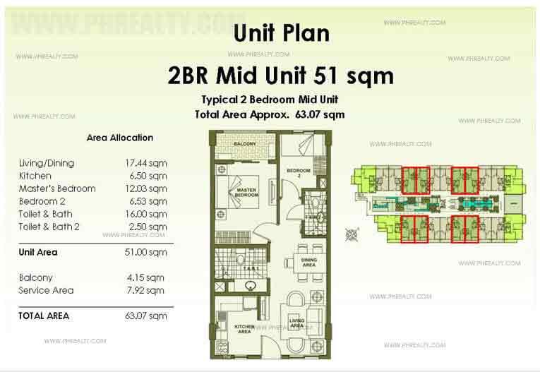 Mid Unit Plan 2 Bedroom