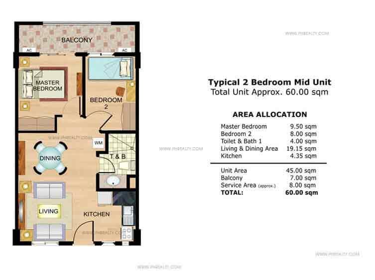 Amaranth Typical 2 Bedroom Mid Unit