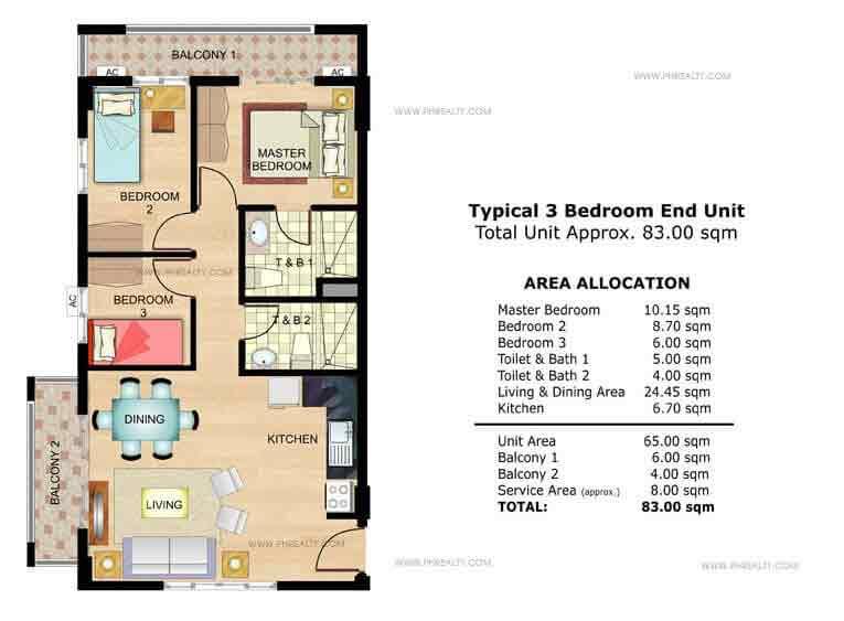 Amaranth Typical 3 Bedroom End Unit