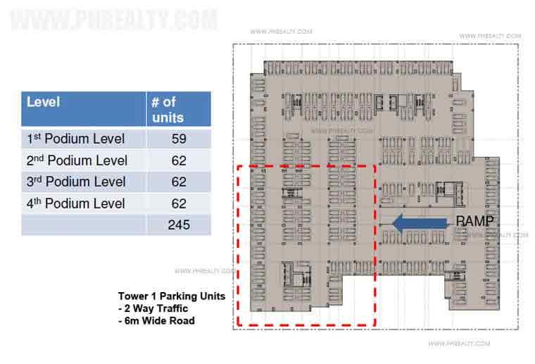 Podium level-parking area