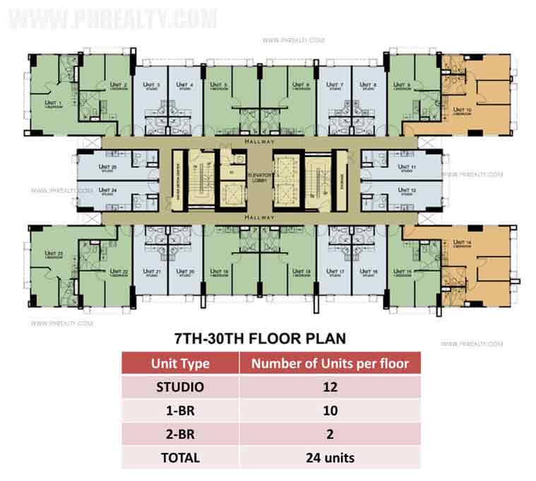 7th To 30th Floor Plan