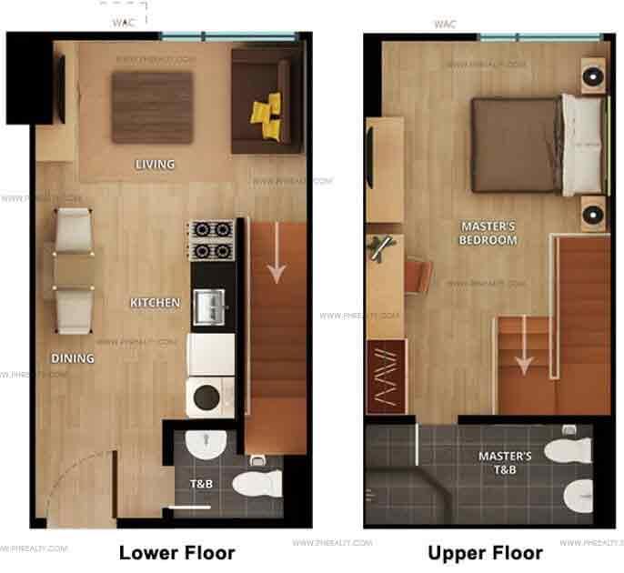 1 Bedroom Lower Floor Upper Floor