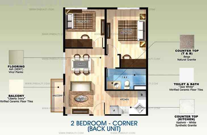 Back Unit 2 Bedroom with Balcony