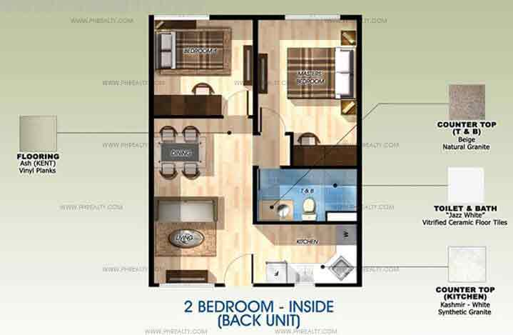 Back Unit 2 Bedroom without Balcony