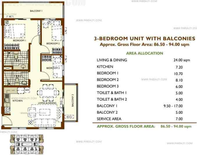 Unit With Balconies A 3 Bedroom