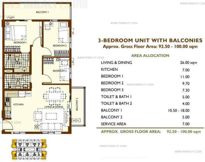 Unit With Balconies B 3 Bedroom