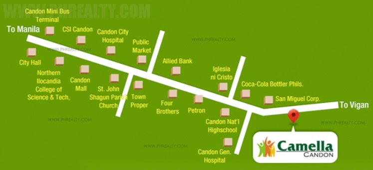 Location & Address of Camella Homes Camella Candon - Candon