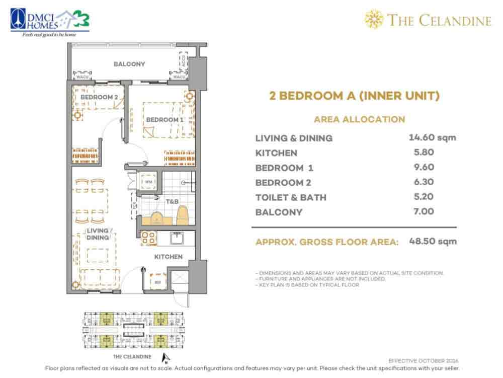 Celandine Residences QC - 2 BR A Inner Unit