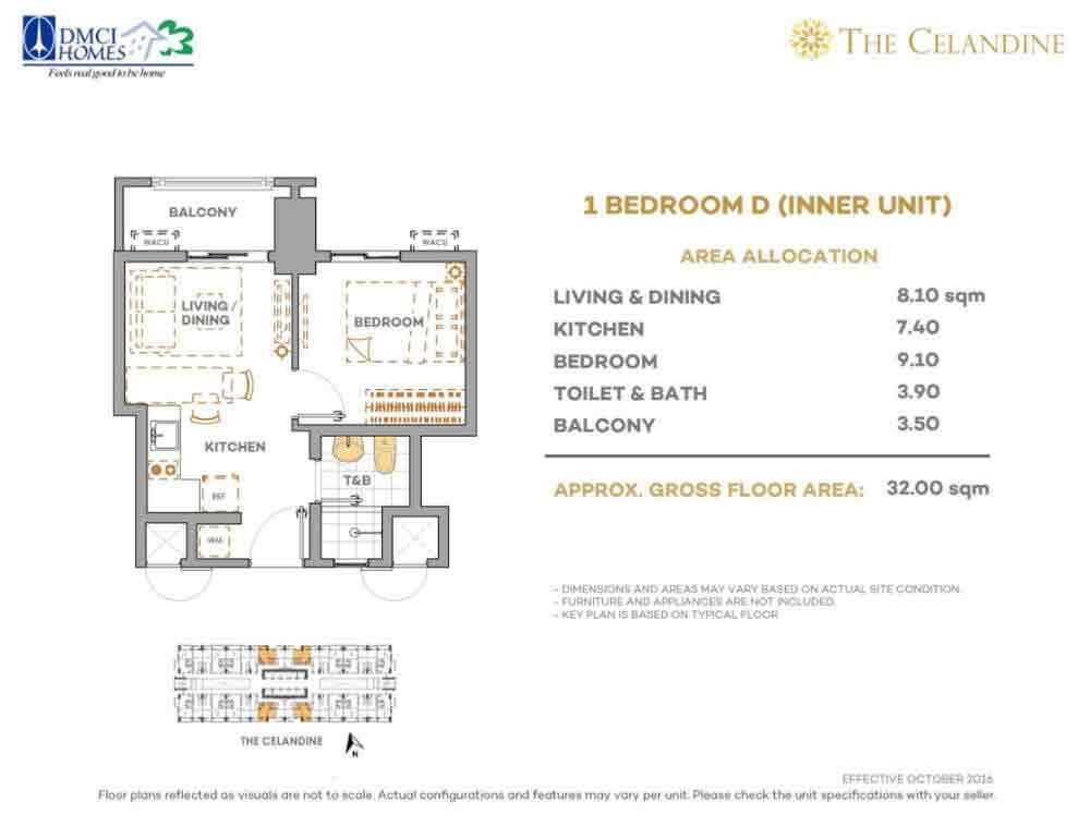 Celandine Residences QC - 1 BR D Inner Unit