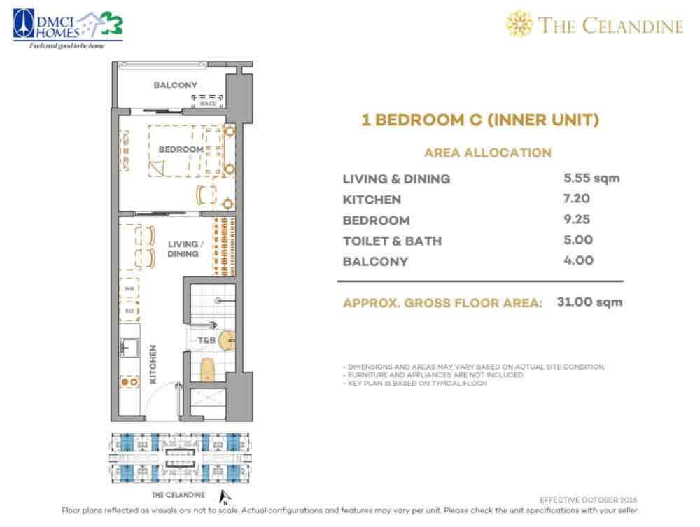 Celandine Residences QC - 1 BR C Inner Unit
