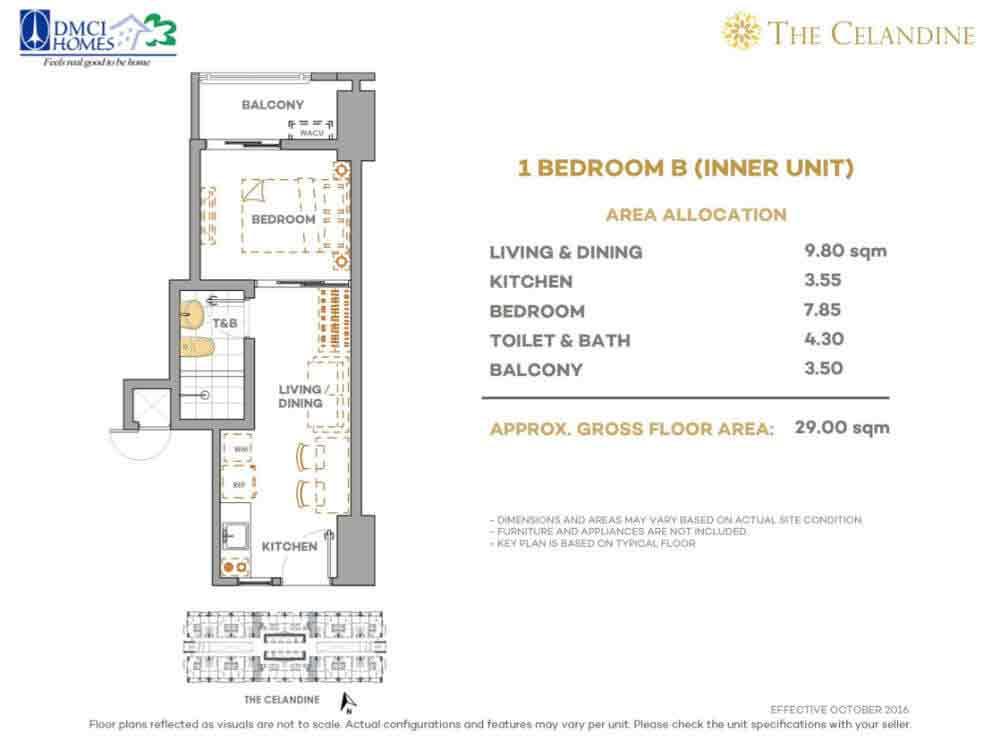 Celandine Residences QC - 1 BR B Inner Unit