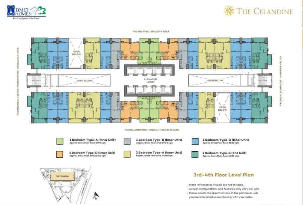 Celandine Residences QC - 3rd-4th Floor Level Plan