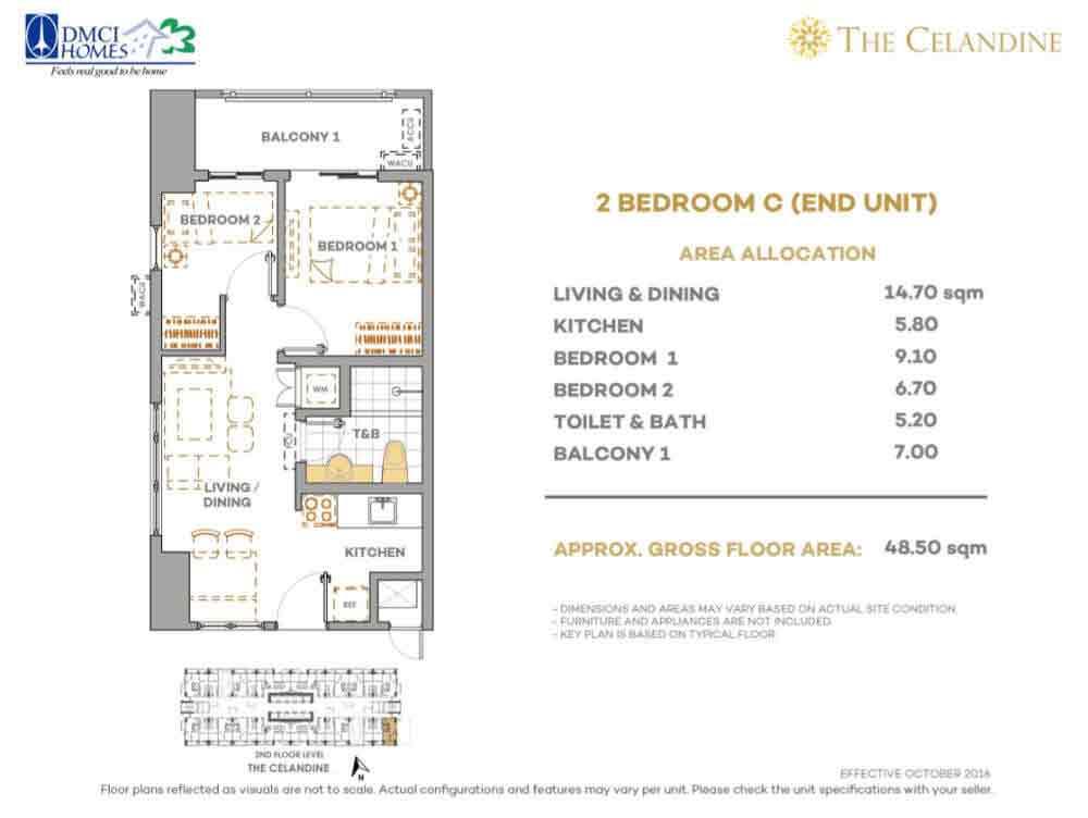 Celandine Residences QC - 2 BR Unit