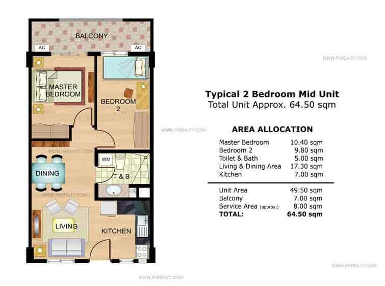 Chamomile Typical 2 Bedroom Mid Unit