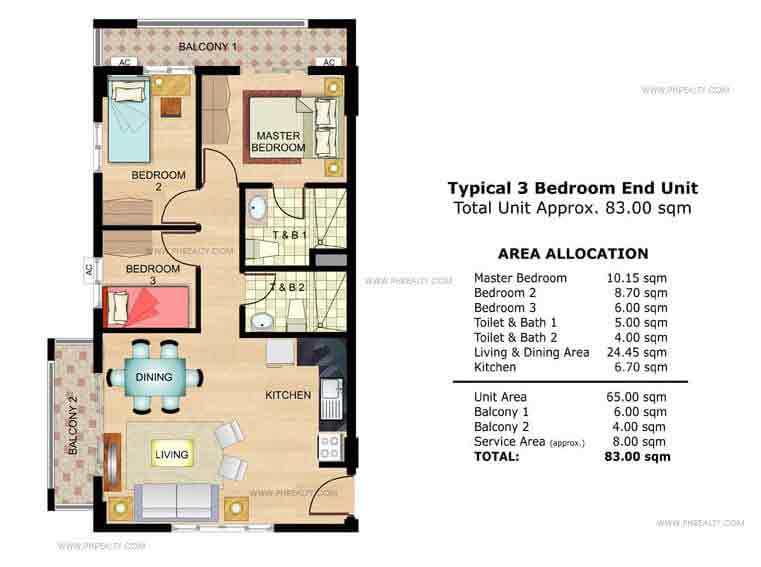 Chamomile Typical 3 Bedroom End Unit