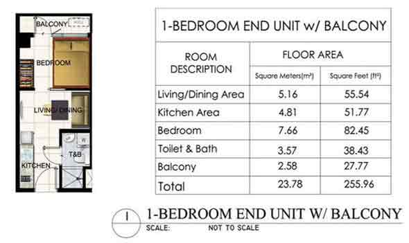 1 BR End Unit with Balcony