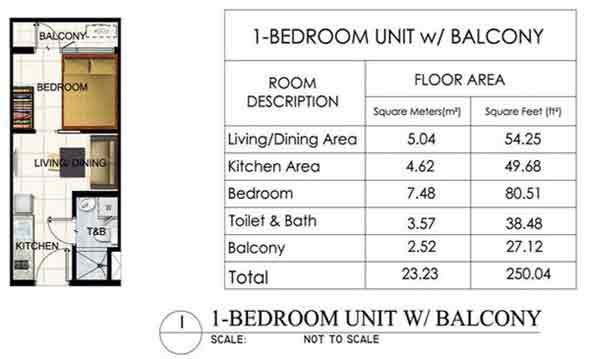 1 BR unit with Balcony