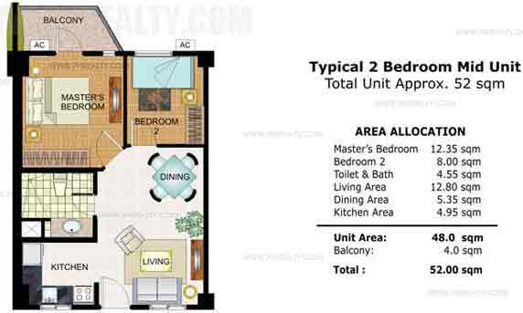 Typical Mid Unit 2 Bedroom