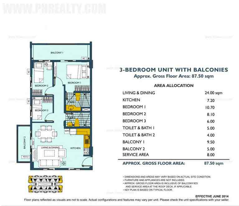 3 Bedroom Unit With Balconies