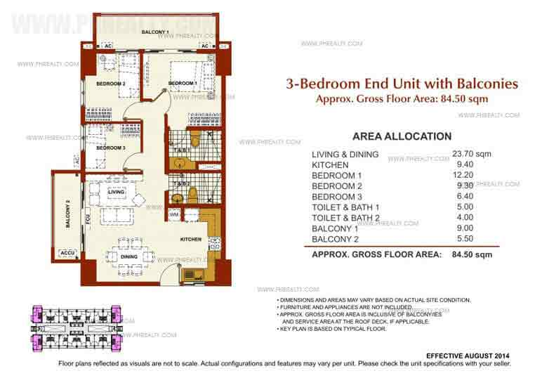 3 Bedroom End Unit With Balconies