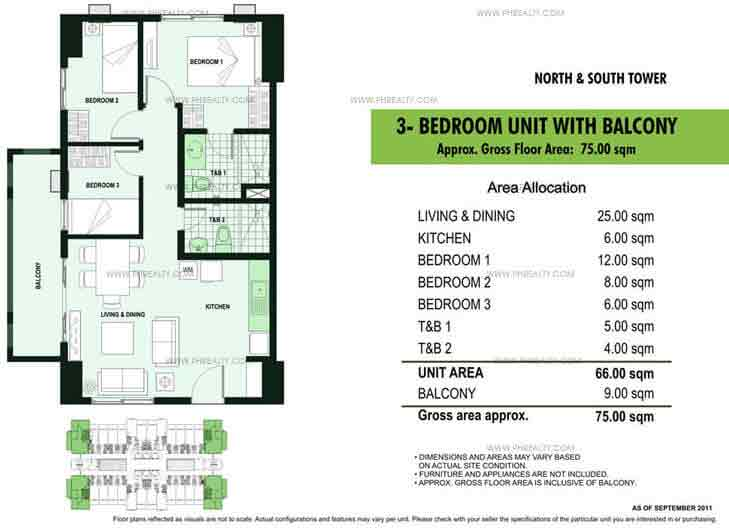 3 BR Unit With Balcony
