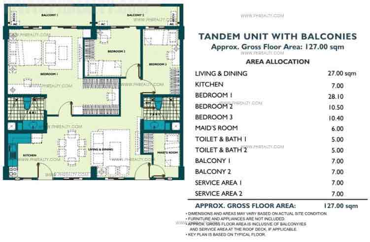 Tandem Unit With Balcony 3 Bedroom
