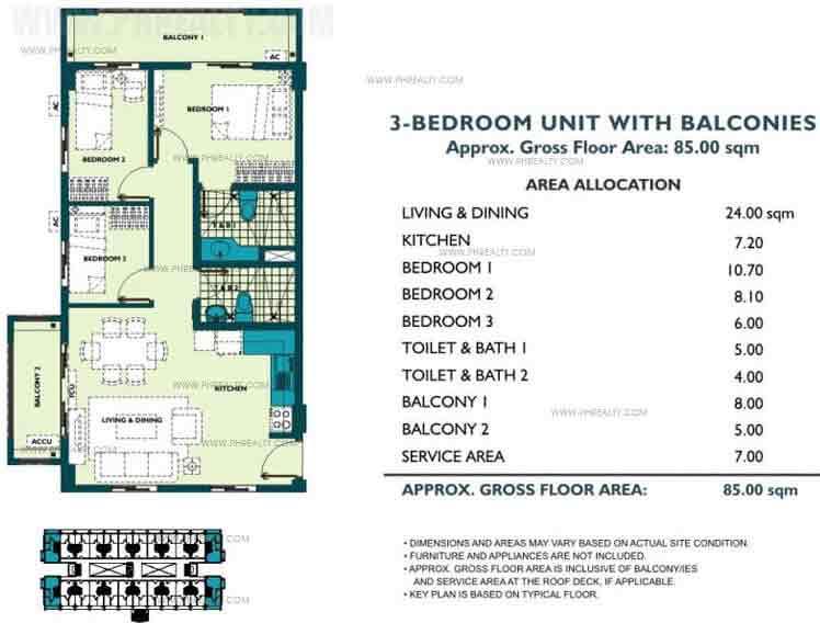 Unit With Balcony 3 Bedroom