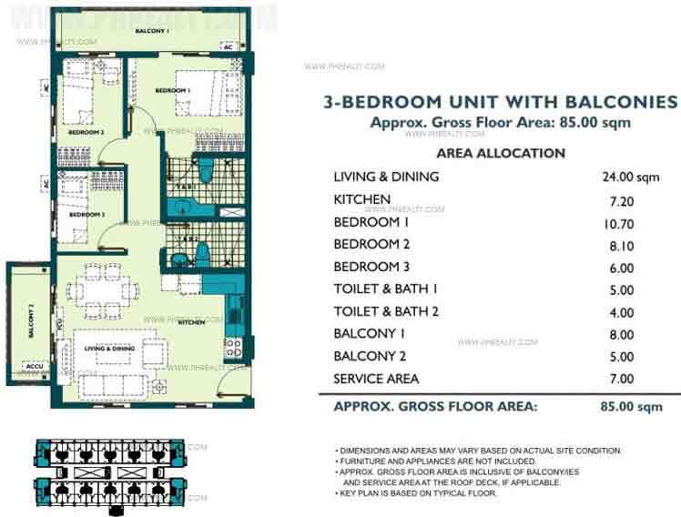 Unit With Balcony 3 Bedroom