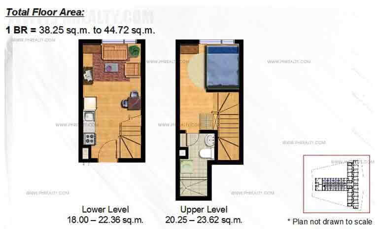 Typical 1 - BR Bi- Level Floor Plan