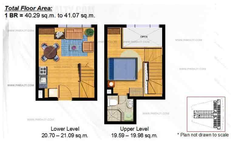 Typical 1 -BR Loft Floor Plan