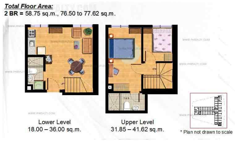 Typical 2 -BR Bi- Level Floor Plan