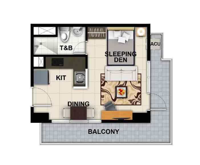 Executive Studio Unit 29 sqm - Balcony 10.50 sqm