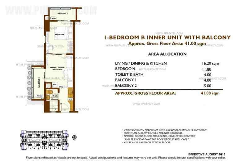 Unit Plan 1 Bedroom - B