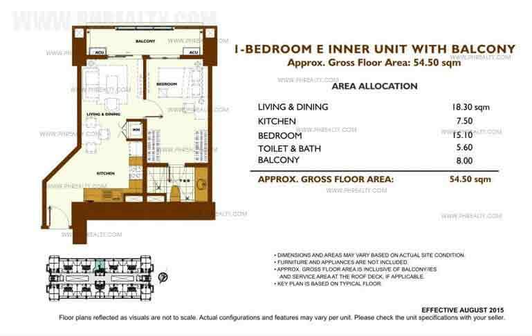 Unit Plan 1 Bedroom - E