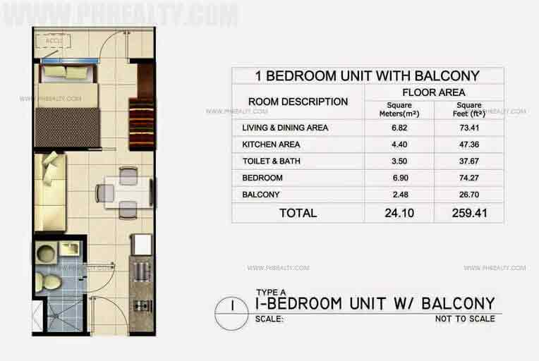 1 Bedroom Unit With Balcony
