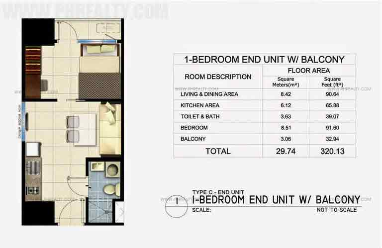 1 Bedroom End Unit With Balcony