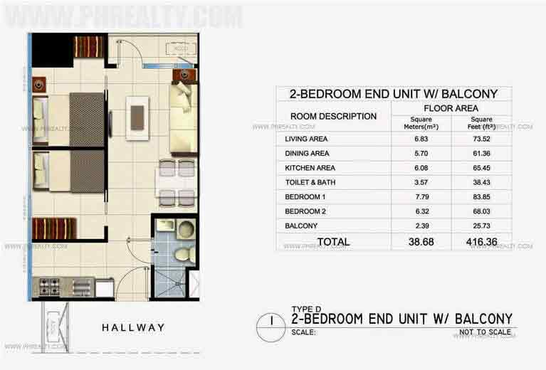 2 Bedroom End Unit With Balcony