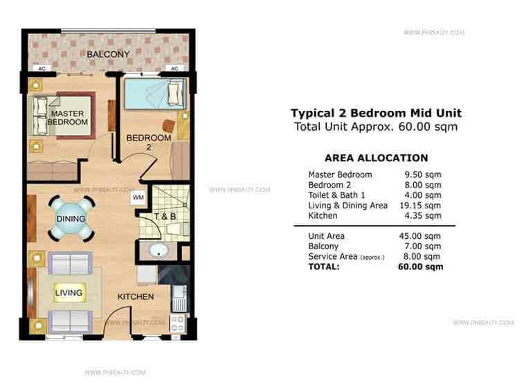 Fennel 2 Bedroom Mid Unit