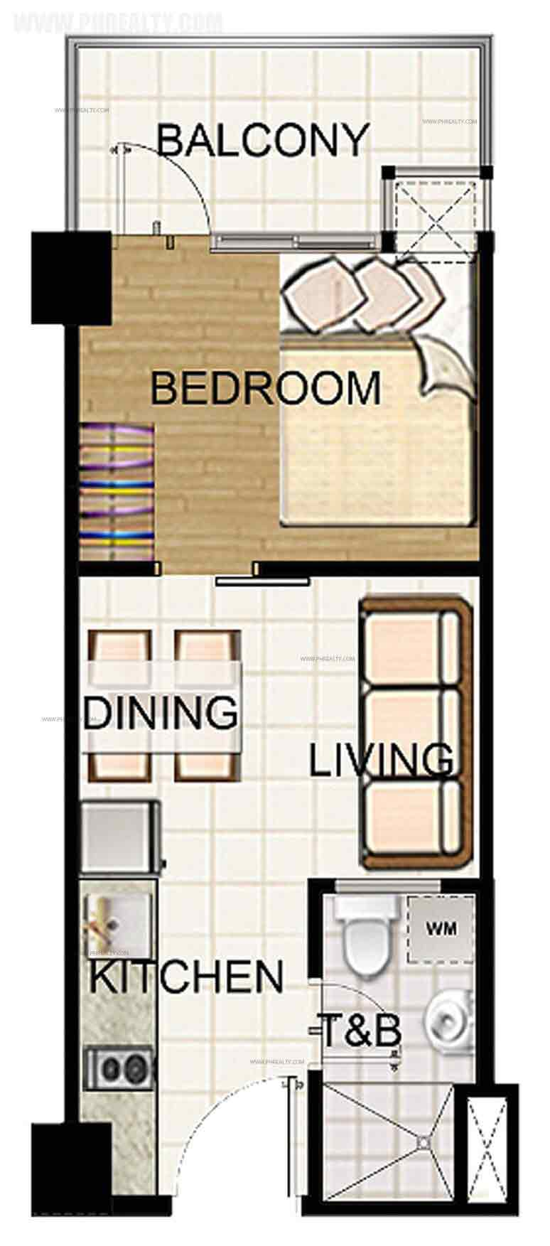 1 Bedroom Standard Unit with Balcony