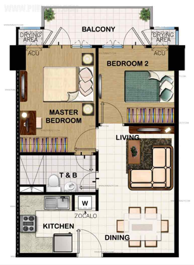 2 Bedroom Middle Unit