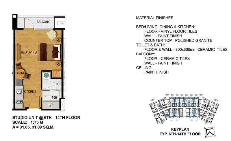 Studio Unit (6th - 14th Floor)