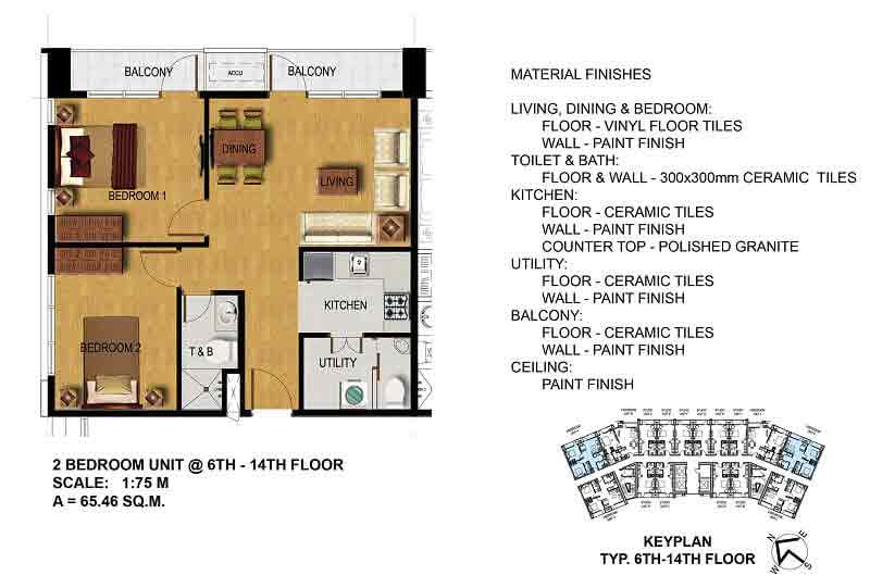 Two Bedroom (6th - 14th Floor)