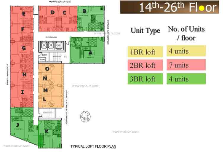 14th - 26th Floor Plan