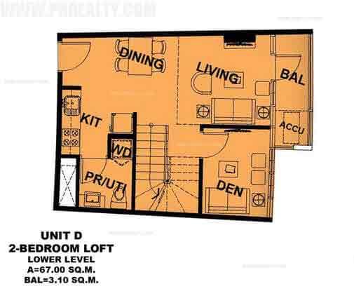 Unit D 2 Bedroom Loft