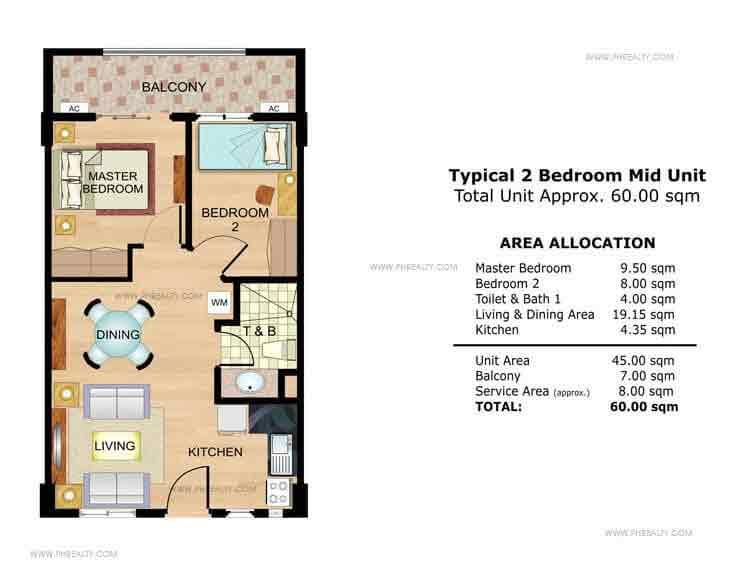 Lavender 2 Bedroom Mid Unit